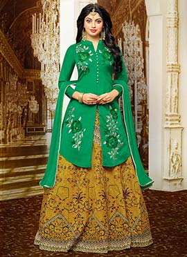 Green Art Benarasi Silk Long Choli Lehenga