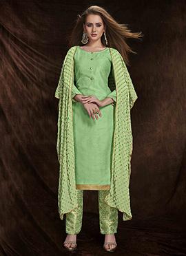 Green Art Benarasi Silk Straight Pant Suit