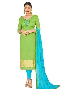 Green Art Benarasi Silk Straight Suit