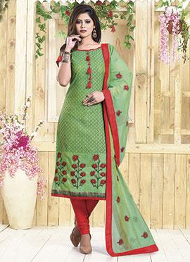 Green Art Chanderi Silk Churidar Suit