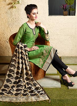 Green Art Chanderi Silk Cotton Churidar Suit