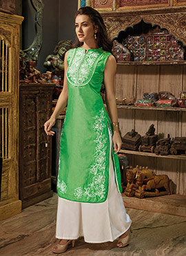 Green Art Chanderi Silk Kurti
