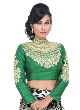 Green Art Dupion Silk Blouse