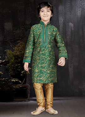Green Art Dupion Silk Kids Kurta Pyjama