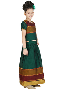 Green Art Dupion Silk Pavadai Set