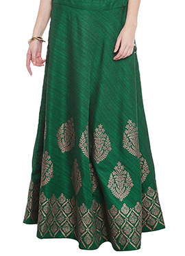 Green Art Dupion Silk Skirt