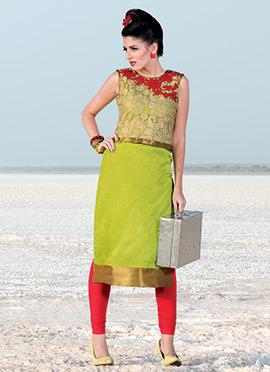 Green Art Raw Silk Jacket Style Kurti