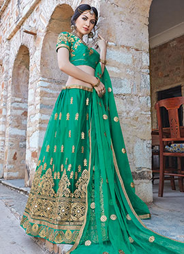 Green Art Silk A Line Lehenga Choli