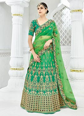 Green Art Silk A Line Lehenga