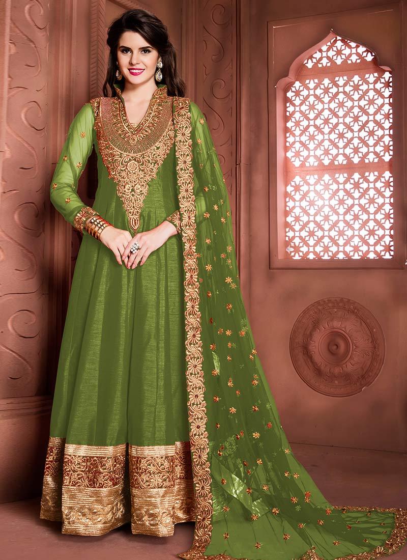 Buy Green Art Silk Abaya Style Anarkali Suit, anarkali-suit Online ...