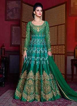 Green Art Silk Abaya Style Anarkali Suit