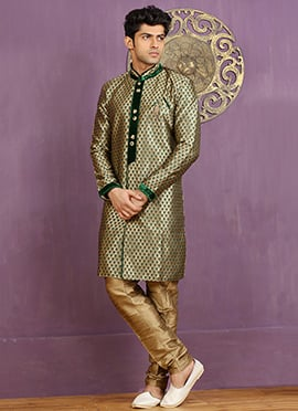 Green Art Silk Achkan Sherwani