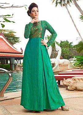 Green Art Silk Anarkali Gown