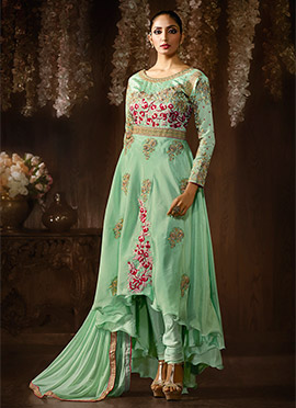 Green Art Silk Asymmetrical Anarkali Suit