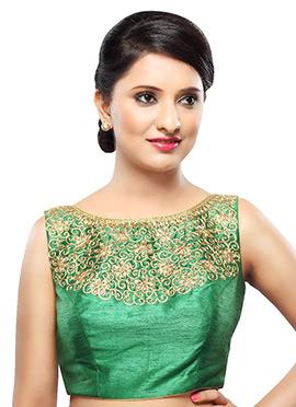 Green Art Silk Blouse