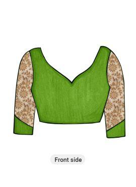 Green Art Silk Blouse with Gold Net Sleeve