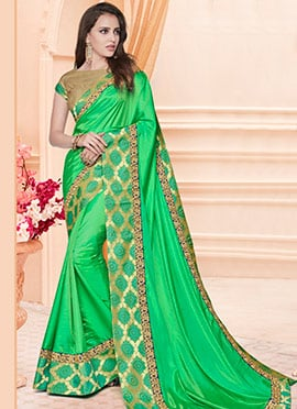 Green Art Silk Border Saree