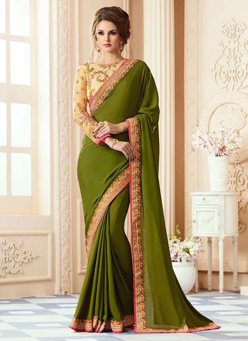 Buy Green Art Silk Border Saree Stones Embroidered