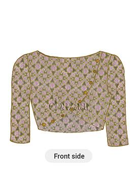 Green Art Silk Brocade Blouse