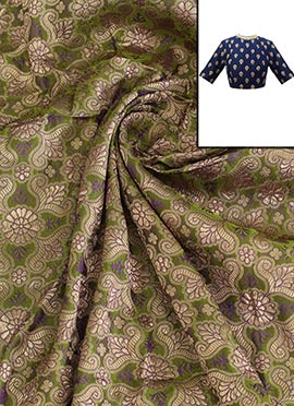 Green Art Silk Brocade Blouse Material