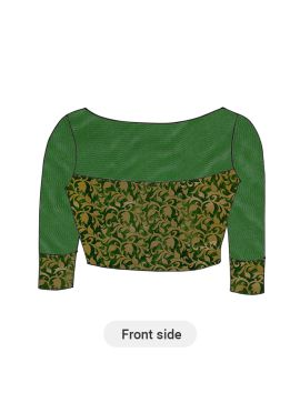 Green Art Silk Brocade Blouse with Green Net sleeves