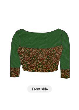 Green Art Silk Brocade Blouse with Green Net sleeves