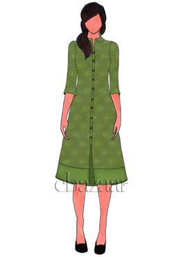 Green Art Silk Brocade Collar Neck Kurti