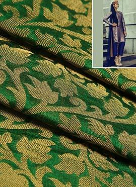 Green Art silk Brocade Dress Material