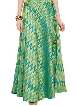 Green Art Silk Brocade Skirt
