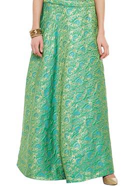Green Art Silk Brocade Skirt