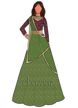 Green Art Silk Brocade Umbrella Lehenga