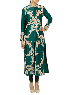Green Art Silk Churidar Suit