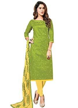 Green Art Silk Churidar Suit