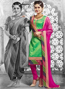 Green Art Silk Churidhar Suit