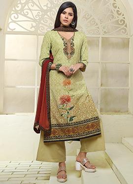 Green Art Silk Cotton Palazzo Suit
