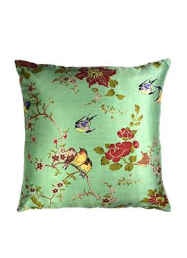 Green Art Silk Cushion Cover