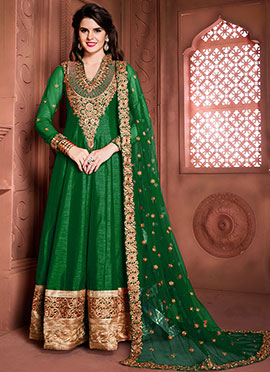 Green Art Silk Floor Length Anarkali Suit