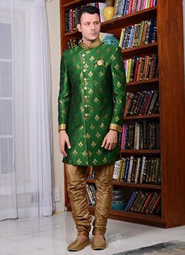 Green Art Silk Indowestern Sherwani