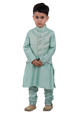 Green Art Silk Kids Bandi Set