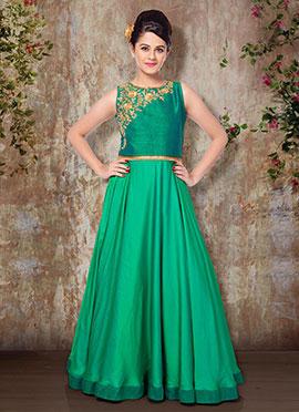 Green Art Silk Kids Gown