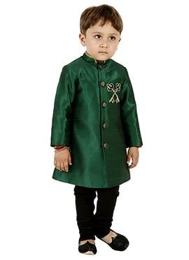 Green Art Silk Kids Kurta Pyjama