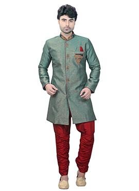 Green Art Silk Kurta Pyjama