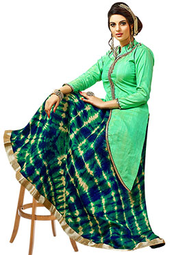 Green Art Silk Long Choli A Line Lehenga