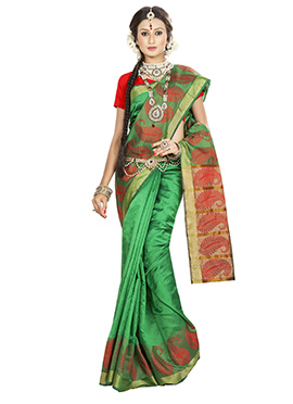 Green Art Silk Paisley Patterned Border Saree