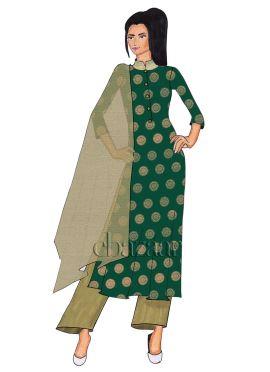 Green Art Silk Palazzo Suit