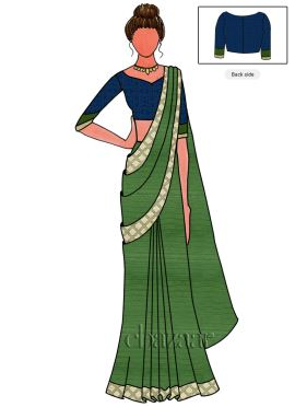 Green Art Silk Saree N Sonakshi Sinha Blouse