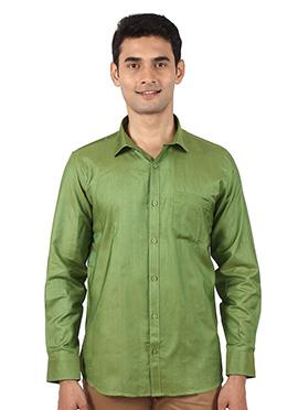 Green Art Silk Shirt