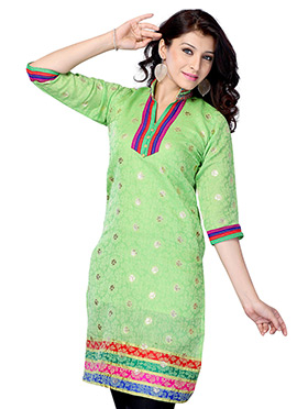 Green Art Silk Short Kurti
