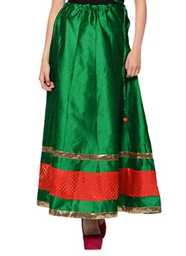 Green Art Silk Skirt