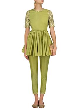Green Art Silk Straight Pant Set